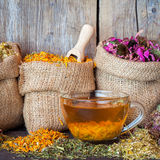 Healing herbs in hessian bags and healthy tea cup Royalty Free Stock Photo