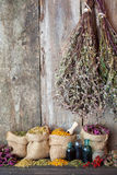 Healing herbs in hessian bags, herbal medicine. Stock Images