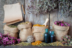 Healing herbs in hessian bags, paper sheet and bottles stock images