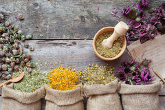 Healing herbs in hessian bags, wooden mortar and recipes Royalty Free Stock Photography