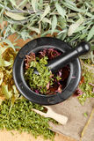 Healing herbs on wooden table, mortar and pestle. Herbal medicine, top view stock photos