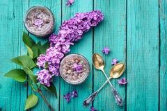 Healing lilac flower jam. Homemade spring jam of lilac petals. Medicinal jam royalty free stock image