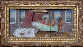 Healing the mother of Peter`s wife. Altarpiece in the church of Saint Matthew in Stitar, Croatia Stock Photo
