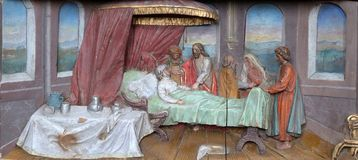 Healing the mother of Peter`s wife. Altarpiece in the church of Saint Matthew in Stitar, Croatia Stock Photography