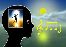 Healing Music. Music therapy for relaxation, meditation, stress reduction, pain management or just to tickle fantasy Royalty Free Stock Photography