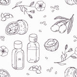 Healing oils outline seamless pattern. Healthy background Stock Images