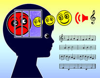 Healing Power of Music. Concept sign for the impact of music therapy on anxiety and depressions for kids Royalty Free Stock Photography