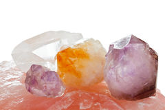 Healing quartz crystals. Purple, yellow and clear healing quartz crystals Royalty Free Stock Photo
