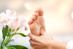 Healing reflexology massage. stock image