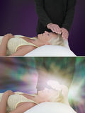 Healing session showing ethereal energy field Royalty Free Stock Images