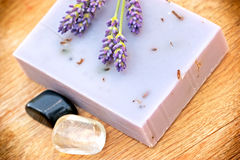 Healing soap of lavender Royalty Free Stock Photography
