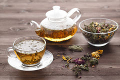 Healing tea with herbs and rode hip Royalty Free Stock Photo