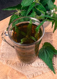 Healing tea with nettle. Tea in a glass cup on a wooden table. The source of vitamins. Stock Image