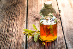 Healing tincture with herbs and alcohol Royalty Free Stock Image