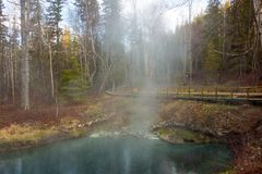 A natural geothermal pond in northern canada Stock Images