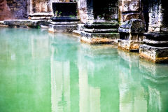 Healing Waters. Water in an ancient reflecting pool Stock Photo