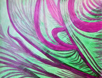 Healing waves in purple, green, and white. Abstract color painting of flowing, purple, green and white ocean coast waves that are gentle and calm. Meditative art Vector Illustration