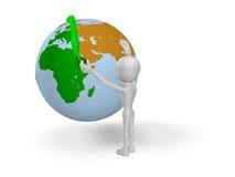 Healing the world. 3d man conceal green sheet on 3d world Stock Photography