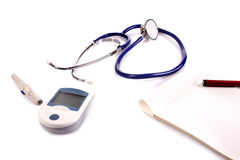 Health. Medical equipment for diagnose cholesterol and pressure problems Stock Photos