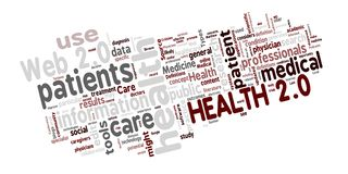Health 2.0 wordcloud. Word cloud of Health 2.0 related medical and healthcare words stock illustration