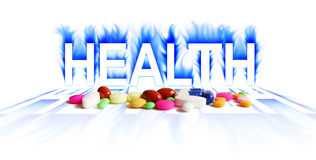 Health. Word and drug in white background Stock Photos