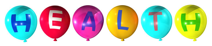 Health. Word in abstract colorful balloons Royalty Free Stock Image
