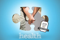 Health against blue background with vignette. The word health and hitch hiking couple standing holding hands on the road against blue background with vignette Royalty Free Stock Image