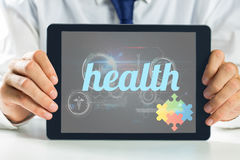Health against medical biology interface in black Stock Images