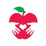 Health apple logo. Illustration of a health apple logo with white background Stock Photos