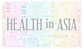 Health In Asia word cloud. Wordcloud made with text only vector illustration