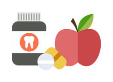 Health balanced diet concept choice between two sources vitamins pills or fruits vector. Royalty Free Stock Photography