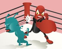 Health and beauty. Capsule hero punching bacterias on the boxing stadium Stock Photos