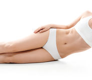 Health and beauty concept - beautiful woman in white cotton underwear Stock Photo