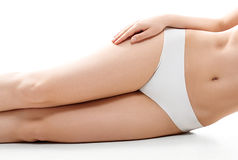 Health and beauty concept - beautiful woman in white cotton underwear Royalty Free Stock Photos