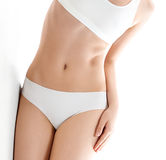 Health and beauty concept - beautiful woman in white cotton underwear Stock Photography
