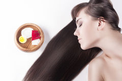 Health and Beauty Concept. Cute Caucasian Brunette Female Royalty Free Stock Images