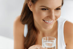 Health, Beauty, Diet Concept. Woman Drinking Water. Drinks. Wate Royalty Free Stock Photos