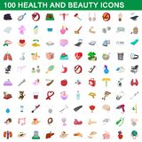 100 health and beauty icons set, cartoon style. 100 health and beauty icons set in cartoon style for any design illustration vector illustration