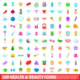 100 health and beauty icons set, cartoon style. 100 health and beauty icons set in cartoon style for any design vector illustration Royalty Free Stock Photography