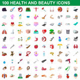100 health and beauty icons set, cartoon style. 100 health and beauty icons set in cartoon style for any design vector illustration Stock Photo