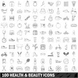 100 health and beauty icons set, outline style Royalty Free Stock Image