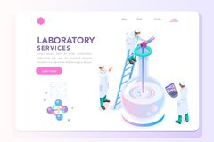 Health and Beauty Laboratory Banner. Health and biochemistry laboratory of nanotechnology. Molecule helix of dna, genome or gene evolution. Vector beauty science royalty free illustration