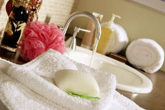 Health & Beauty preparation area. With soaps, sink and towells Stock Photography
