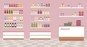 Health and beauty store with colorful cosmetic products in plastic bottles in shelves. Flat style vector illustration Royalty Free Stock Photos