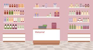Health and beauty store with colorful cosmetic products in plastic bottles in shelves. Flat style vector illustration Royalty Free Stock Image