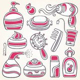Health and beauty supplies icons vector illustration