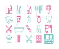Health and Beauty Vector Icons Clip Art. Set of 21 Simple routine objects image Royalty Free Stock Photo