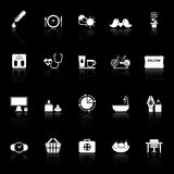 Health behavior icons with reflect on black background Royalty Free Stock Photo