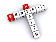 Health benefit. Text 'health benefit' with uppercase letters inscribed on small cubes and arranged crossword style with common letter 'e' white background Royalty Free Stock Photo