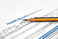 Health benefits claim form Royalty Free Stock Image